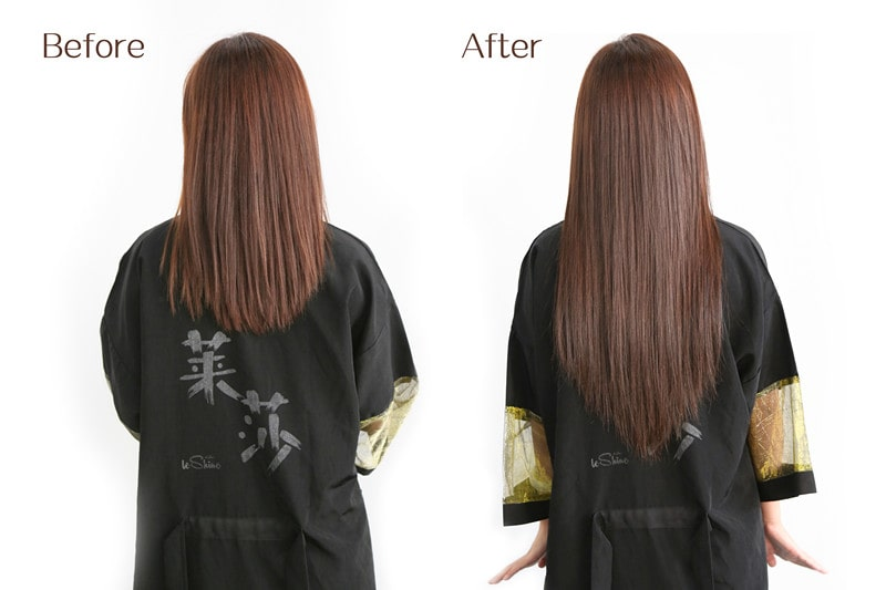 A Lady Before and After Hair Extension